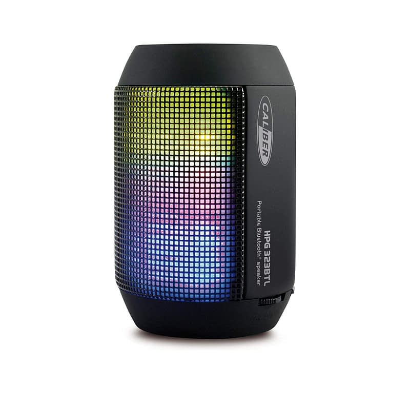 Caliber HPG323BTL Portable Bluetooth Speaker with LED Light and Rechargeable Battery